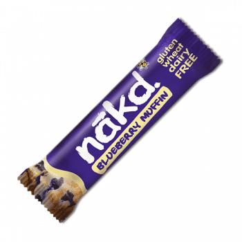 NAKD áfonyás muffin szelet 100% természetes összetevőkből készül, gluténmentes, tejmentes és vegán.